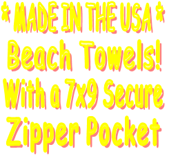 One Of A Kind   Stencil Painted    Beach Towels! With a 7x9 Secure    Zipper Pocket